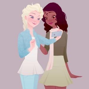 Elsa and Tiana