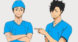 Haikyuu Nurse Bokuto and Kuroo
