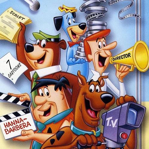 Hanna Barbera karatasi la kupamba ukuta titled Hanna-Barbera Characters In Hollywood