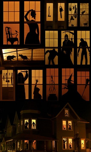 Haunted house window sillouette