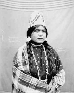 Katherine Som Kin in Cayuse Partial Native Dress with Woven Hat and Ornaments (Moorhouse 1900)
