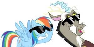MLP Fanart 虹 Dash and Discord Wearing Sunglasses