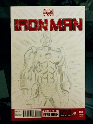 Marvel Now! Iron Man variant 001 sketch cover Classic armor variant