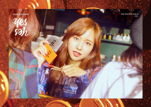 """Twice (JYP Ent) wolpeyper titled Mina's teaser image for """"Yes or Yes"""""""