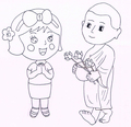 Miss La Sen and monk coloring page