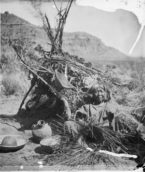 "Paiute Woman ""The Basketmaker"" Making Basket Near Brush Dwelling) John K. Hillers 1873)"