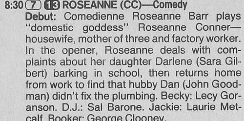 Roseanne Hintergrund called Roseanne's Series Premiere Beschreibung - 1988