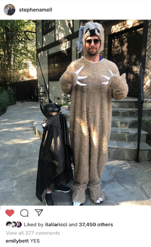 Stephen wore the sloth onesie his work wife/best friend Emily got him for his birthday.