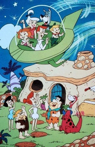Hanna Barbera karatasi la kupamba ukuta titled The Jetsons Meet The Flintstones