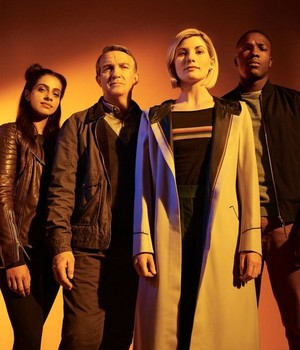 Thirteenth Doctor and her TARDIS crew
