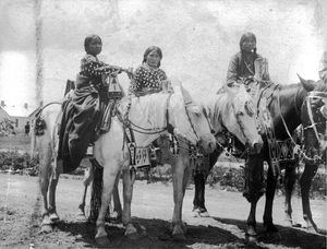 Two young Native American (Crow) women and a girl sit on horseback ~Bostwick 1900's