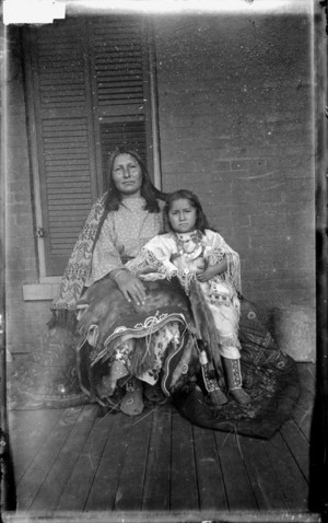 Wife and Child of Ongotoya (Solitary Traveler) Bow Jr. Kiowa (James Mooney 1892)