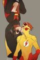 Young Justice Robin Kid Flash halik the boy