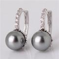 1 GULICX Fashion Crystal CZ Zirconia 18k White Gold Plated Elegant Round Grey Pearl Earrings Gift We - random photo