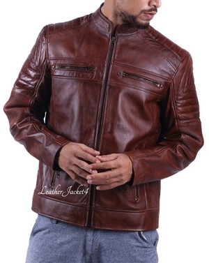 Cafe Racer Leather chaqueta