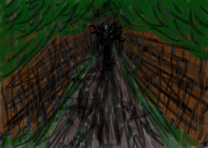 Digital Illustration of Slender-man in the Forest