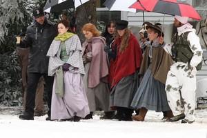 Emma Watson filming with Saoirse Ronan, Florence Pugh and Eliza Scanlen in Harvard