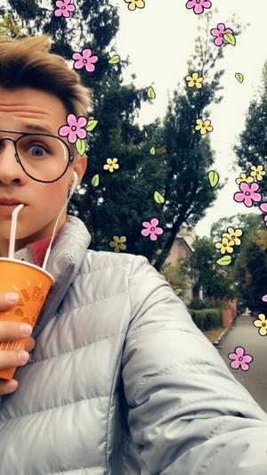 Kevin Collins cute selfie drinking