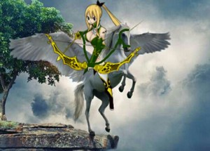 Lucy Heartfilia and her Beautiful Unicorn سواری, سٹیڈ in Sagittarius Form