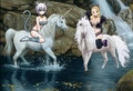 Lucy Heartfilia and Lisanna Strauss in their cat costumes on their Beautiful White Unicorns - fairy-tail fan art