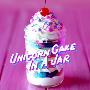 Unicorn cake in a jar