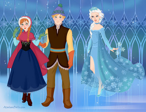 Frozen Scene-Anna, Kristoff and Elsa in the ice castle