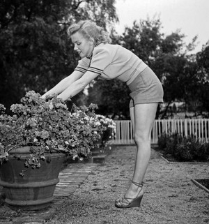 Marilyn Doing Yard. Work