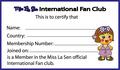 Miss La Sen international fan club card