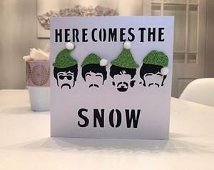 beatles want snow 圣诞节 card