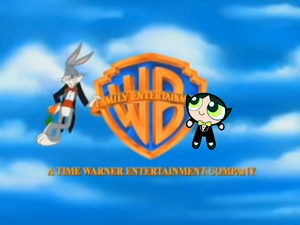 Buttercup on the Warner Bros. logo with Bugs Bunny