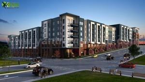 Dusk Exterior Rendering Design Of Apartment Natural Landscape Ideas.