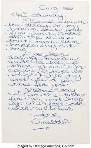 Handwritten Letter da Annette Funnicello