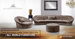 Ivory Mini Acrylic Crystal Tufted Fabric Sofa | Divani Casa | All World Furniture