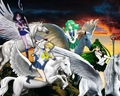 Sailor Pluto, Sailor Neptune, Sailor Uranus, Sailor Saturn riding on their Beautiful Pegasus Steeds