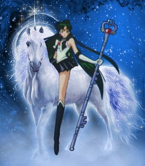 Sailor Pluto on her Beautiful White Unicorn coursier, steed