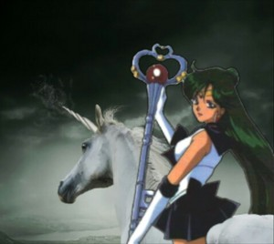 Sailor Pluto rides on her Beautiful Unicorn 말