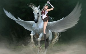Sailor Pluto rides on her Beautiful White Pegasus