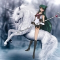 Sailor Pluto rides on her Beautiful White Unicorn