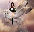 Sailor Pluto rides on her Beautiful Winged Unicorn