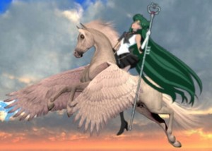 Sailor Pluto riding her Beautiful Pegasus coursier, steed