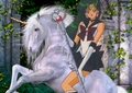 Sailor Pluto riding her Beautiful White Unicorn