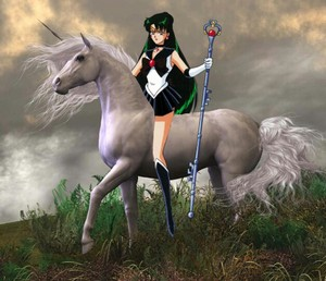 Sailor Pluto riding on her Beautiful White Unicorn
