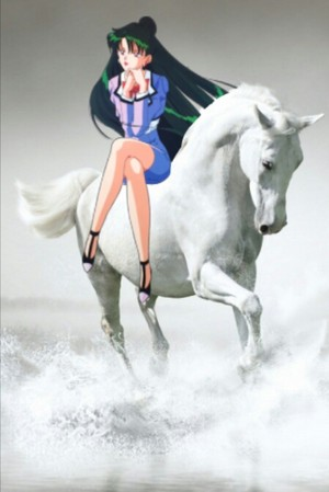 Setsuna Meiou riding on her Beautiful White Horse