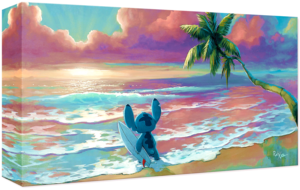 Walt Disney Art - Stitch: Waiting for Waves (Giclée on Canvas sa pamamagitan ng Rob Kaz)