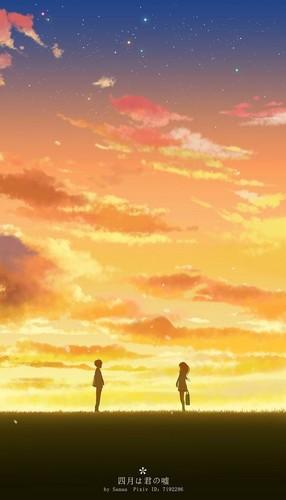 Shigatsu wa Kimi no Uso achtergrond called Kousei nd kaori