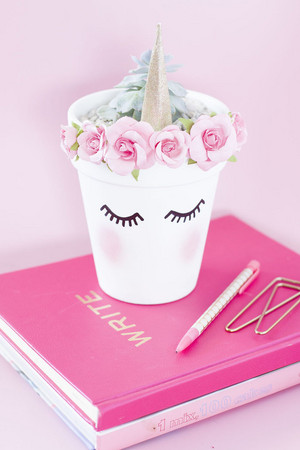 pink unicorn gold planter