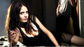 Eva Green Laying Pose In Black Dress And Cigarette In Hand - eva-green wallpaper