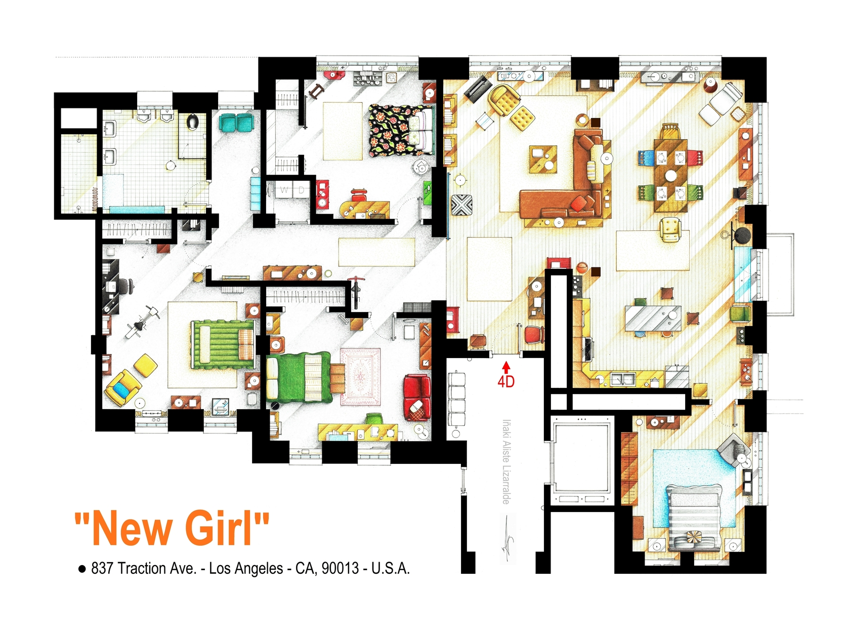 Floorplan of the loft from NEW GIRL