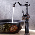 Antique Widespread Electroplated Single Handle One Hole Bathroom Sink Faucet - fine-art photo