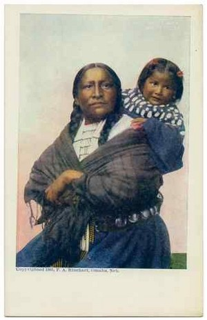 1905 UDB Postcard Native American Indian Sioux woman and Papoose Frank A. Rinehart
